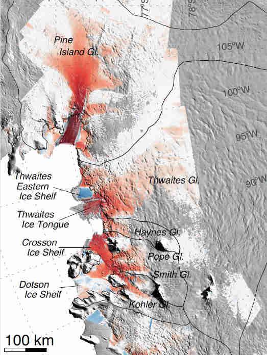 美国宇航局研究揭示了西南南极冰川不可逆转的下降状态