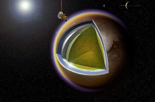 美国宇航局的Cassini开展了它的第100次飞行的土星月亮泰坦